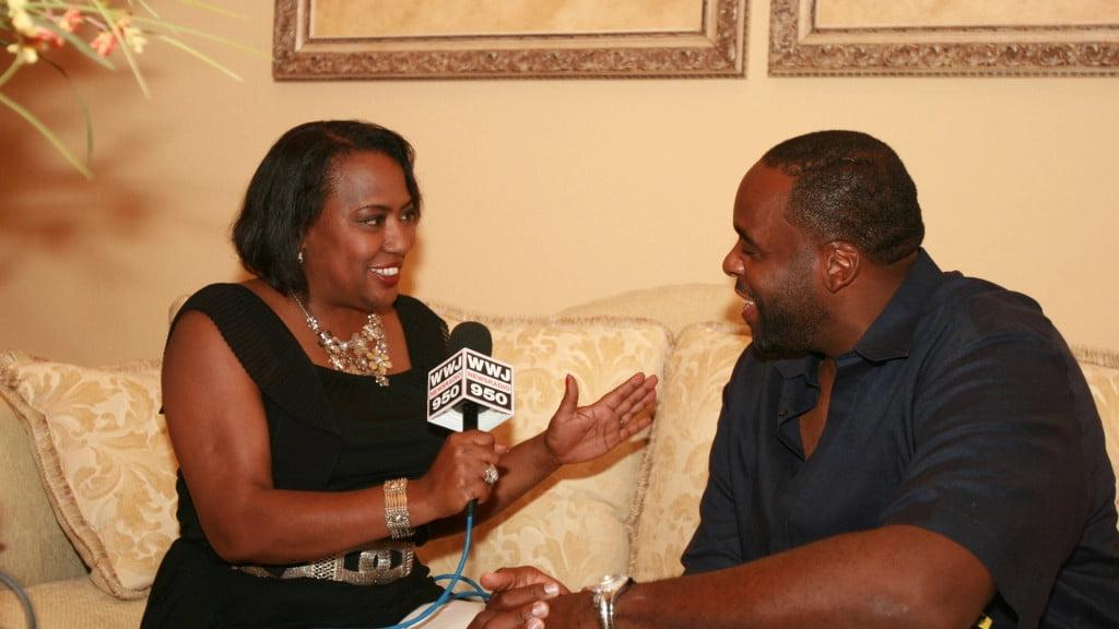 Vickie Thomas interviews former Detroit mayor Kwame Kilpatrick in 2012.